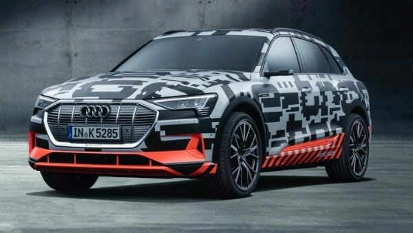 2019 Audi e-tron electric SUV - left front view
