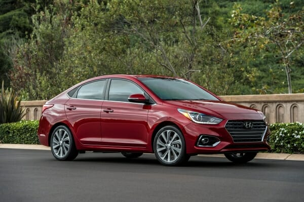 red 2019 Hyundai Accent 4 door sedan