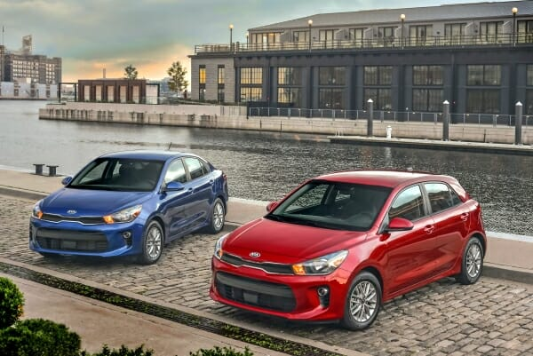 red and blue 2019 Kia Rios