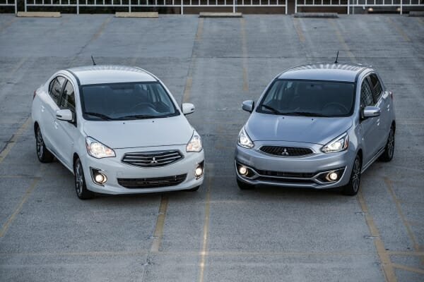 pair of 2019 Mitsubishi Mirage cars