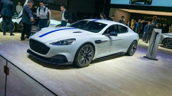 white Aston Martin E-Rapide