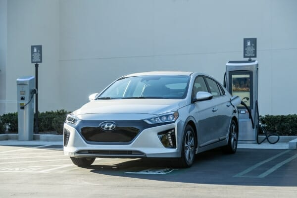2019 Hyundai Ioniq Electric plugged in