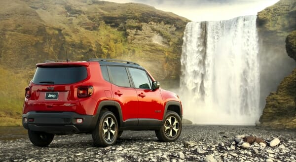 2019 Jeep Renegade by waterfall