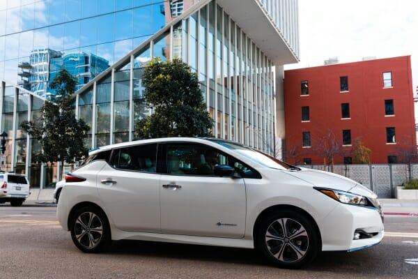 white 2019 Nissan Leaf Plus