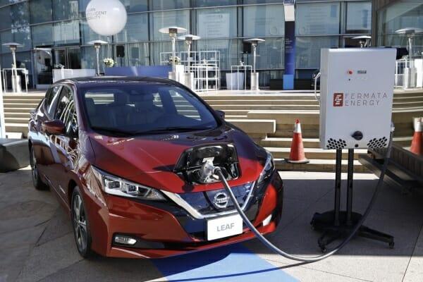 2019 Nissan Leaf plugged in
