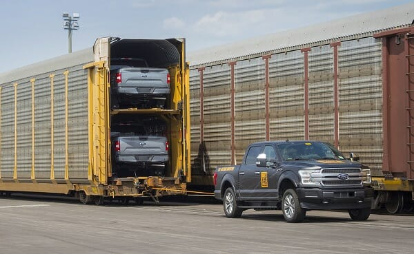 electric f150 prototype - pulling train
